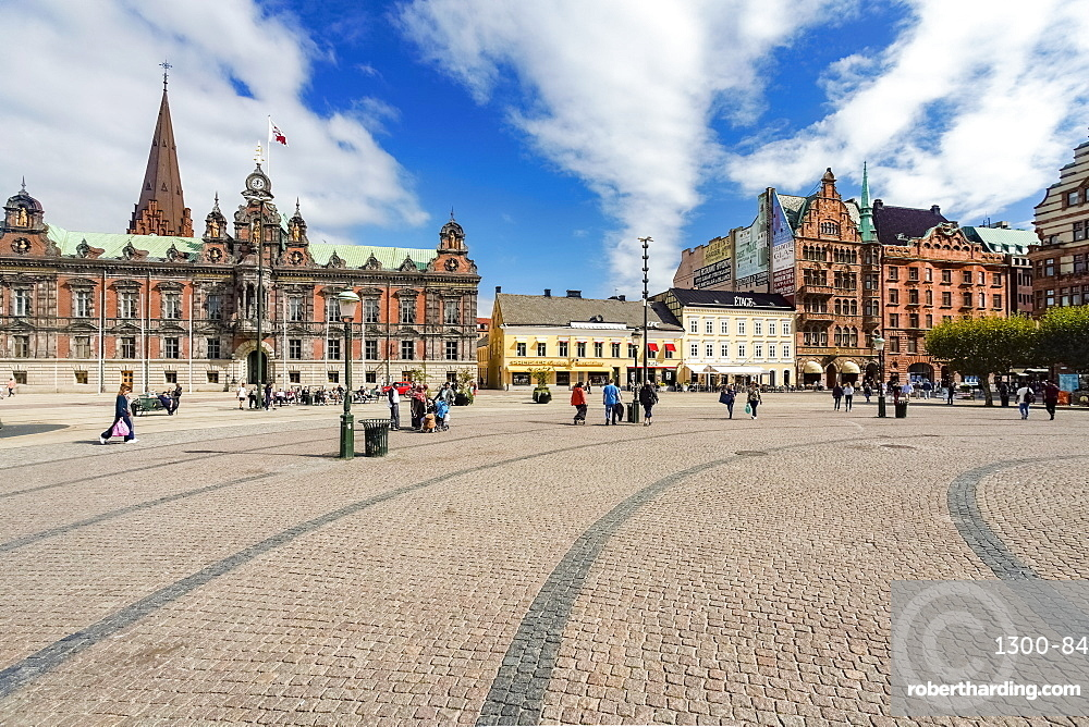 Stortorget, large plaza with the town hall, Malmo, Skane county, Sweden, Europe