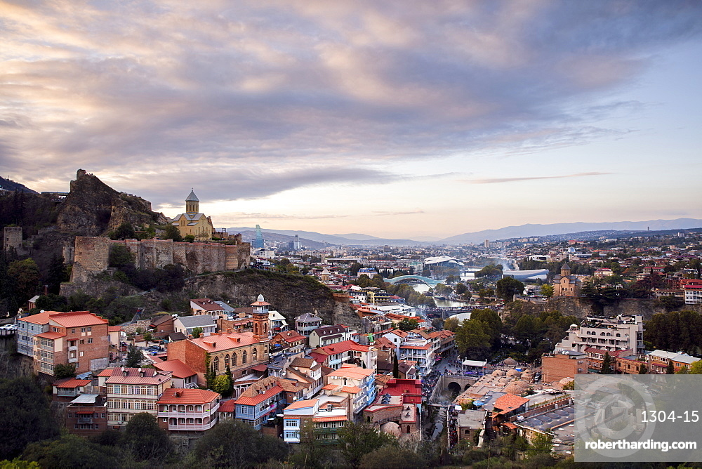Sunset over the city of Tbilisi from a secret lookout point, Georgia, Central Asia, Asia