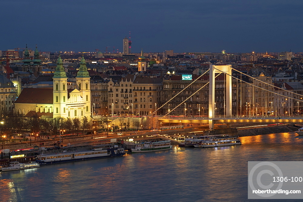 Elisabeth Bridge over the River Danube and city view at night, UNESCO World Heritage Site, Budapest, Hungary, Europe
