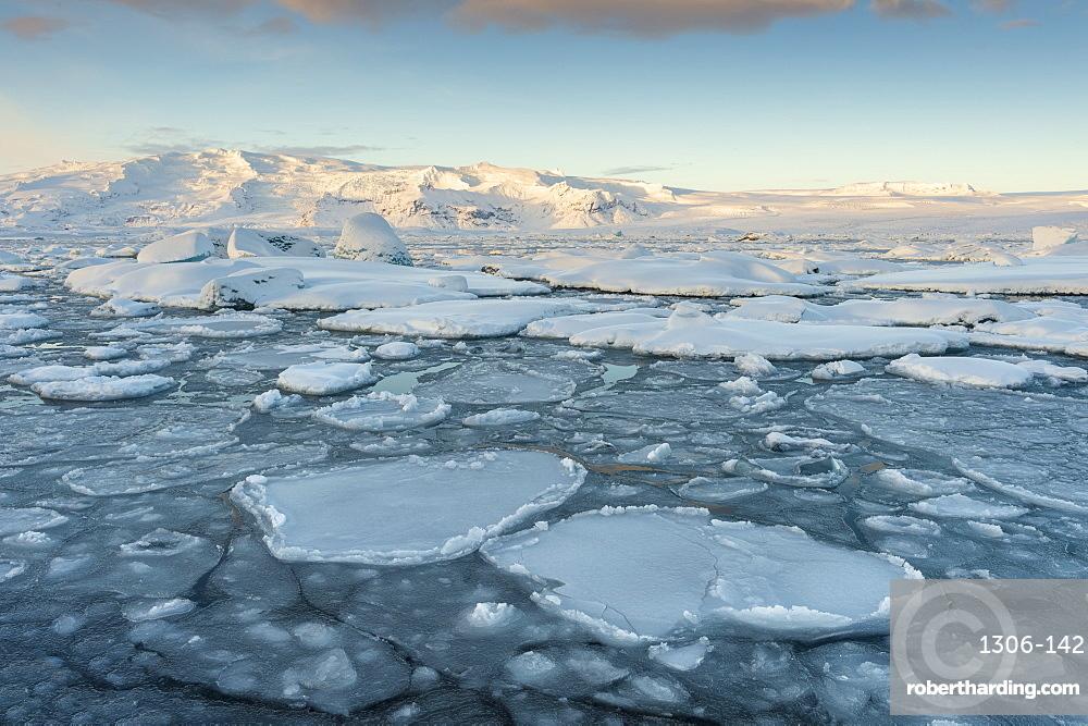 Ice formations in winter at Jokulsarlon lagoon, Jokulsarlon, South Iceland, Iceland, Polar Regions