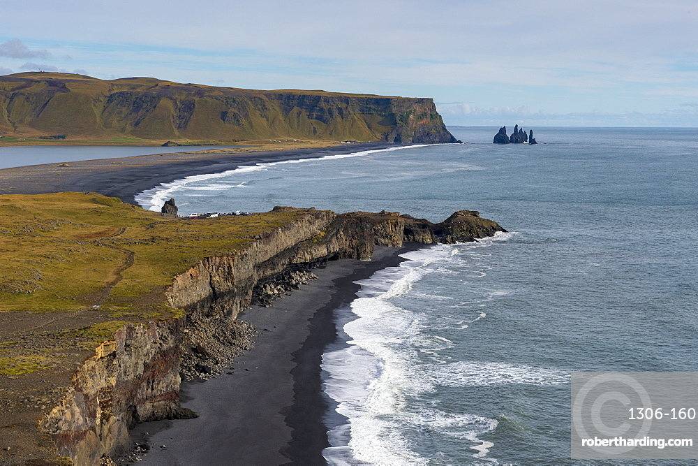 The Reynisdrangar coastline and Sea Stacks, Reynisfjara, Vik, Iceland, Polar Regions