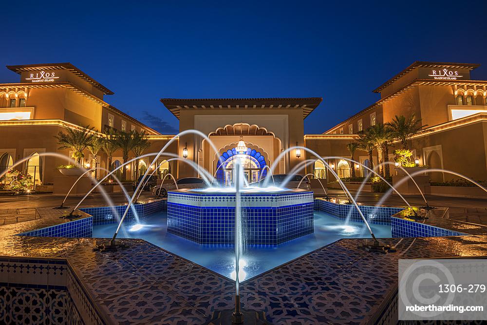 Rixos Saadiyat Island at night, Abu Dhabi, United Arab Emirates, Middle East.