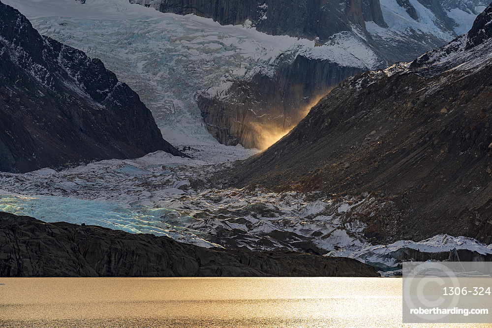 Evening light at Laguna Torre, Los Glaciares National Park, UNESCO World Heritage Site, Santa Cruz Province, Patagonia, Argentina, South America
