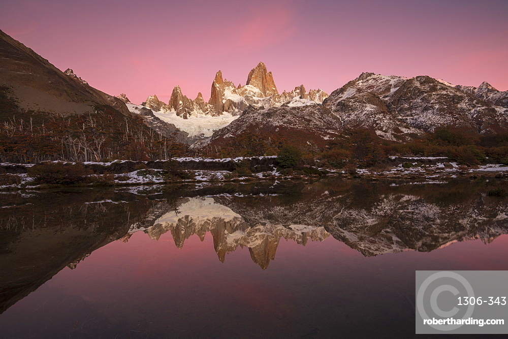 Pre dawn colours with reflection of Mount Fitz Roy, Los Glaciares National Park, UNESCO World Heritage Site, El Chalten, Santa Cruz Province, Patagonia, Argentina, South America