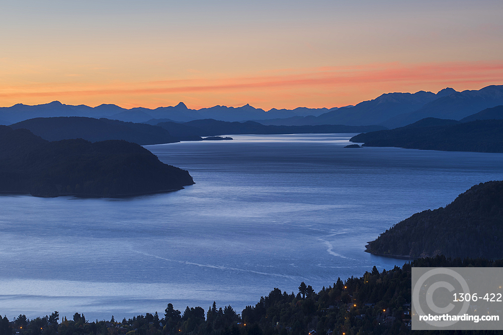 Intense sunset over lake Nahuel Huapi, San Carlos de Bariloche, Patagonia, Argentina, South America
