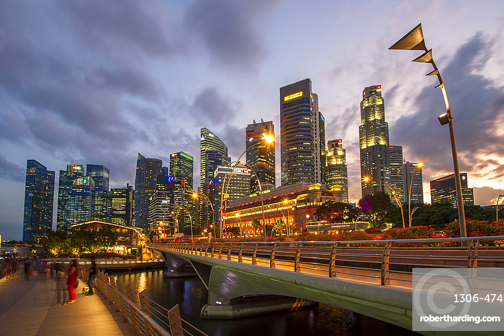 The Fullerton Hotel and The Financial District at night, Singapore, Southeast Asia, Asia
