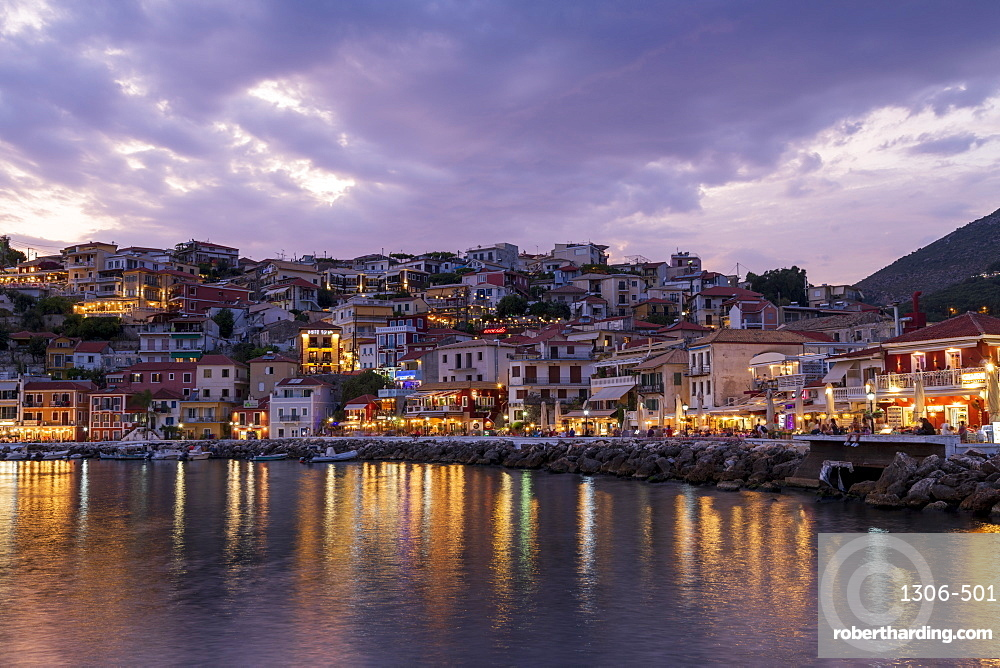 Evening view of Parga restaurants and bars, Preveza, Greece, Europe