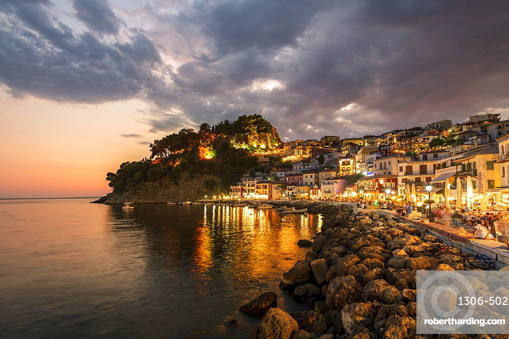 Evening view of Parga Castle and resort, Preveza, Greece, Europe