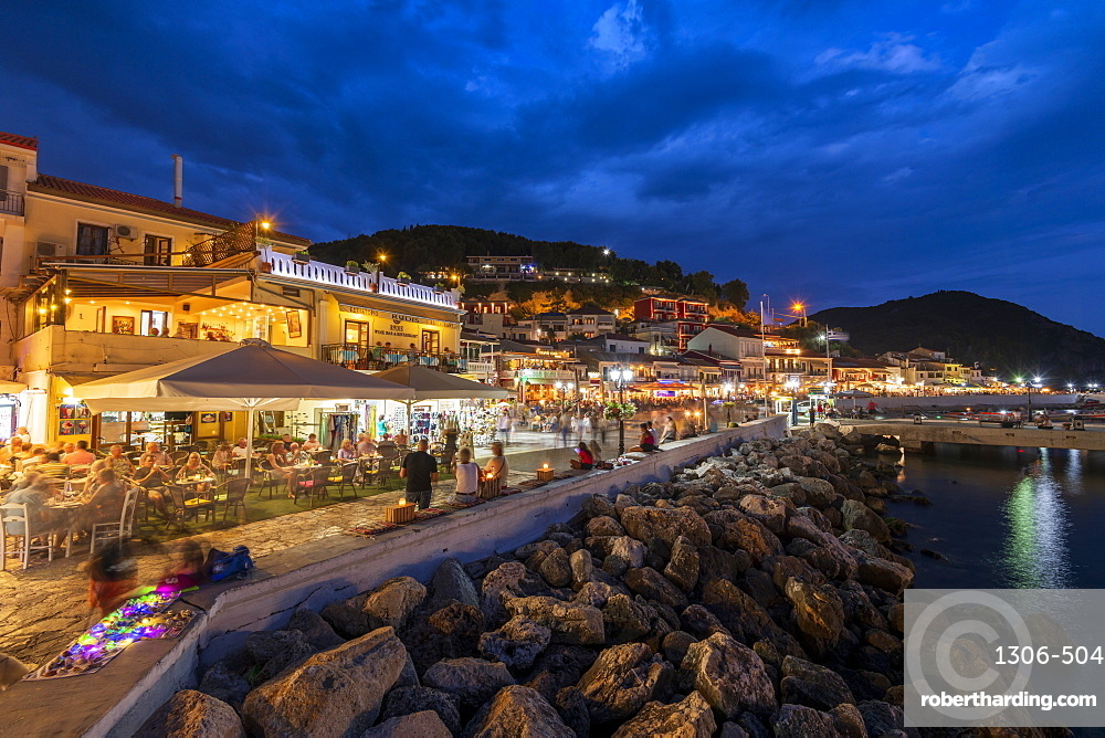 Parga town and harbour at night, Parga, Preveza, Greece, Europe