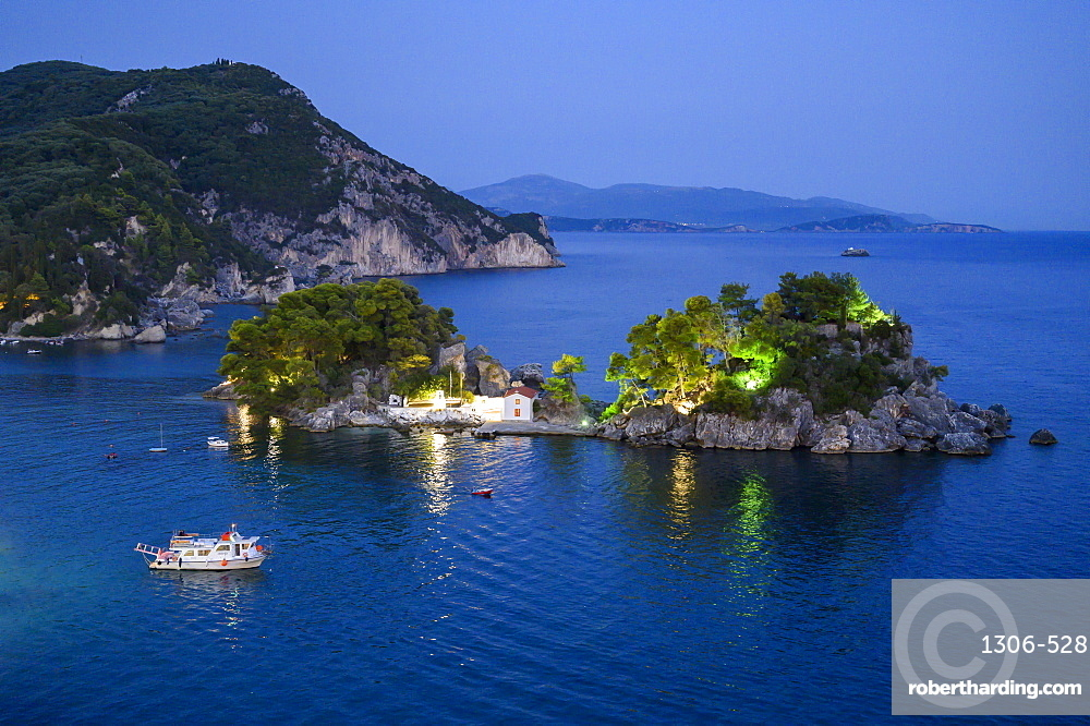Elevated view of Panagia Chapel at night, Parga, Preveza, Greece, Europe