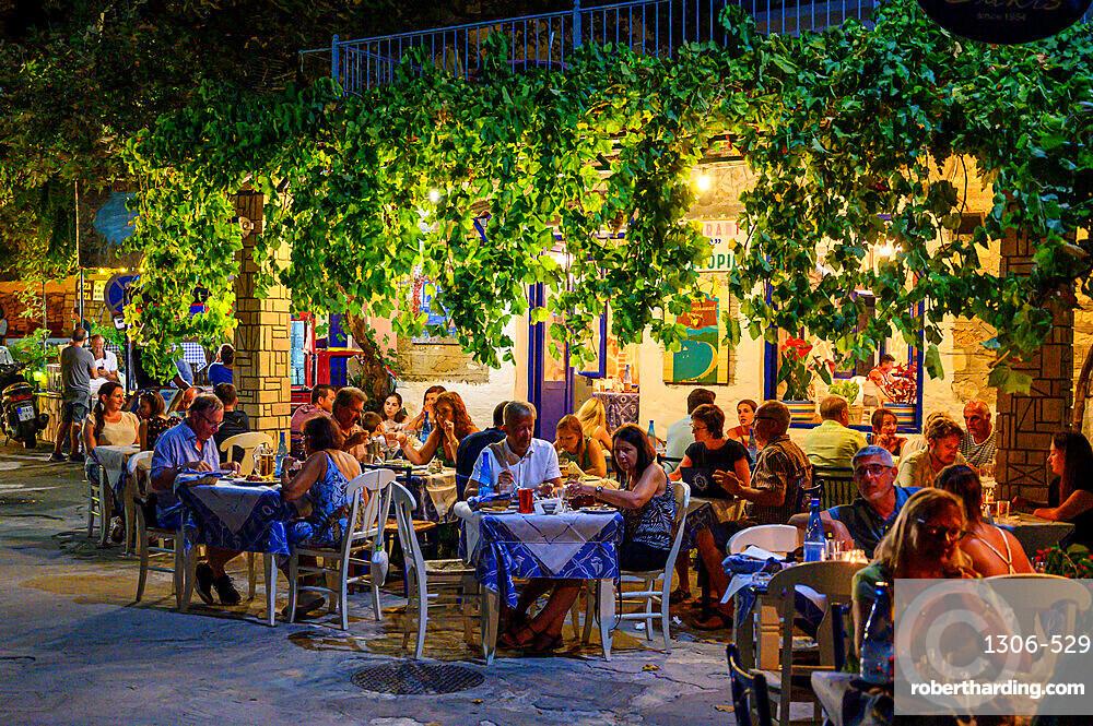 Evening view of traditional Greek restaurant, Parga, Preveza, Greece