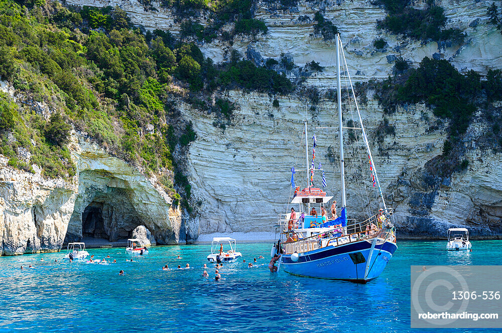 Tourist boats at the Blue Caves, Paxos, Ionian Islands, Greece