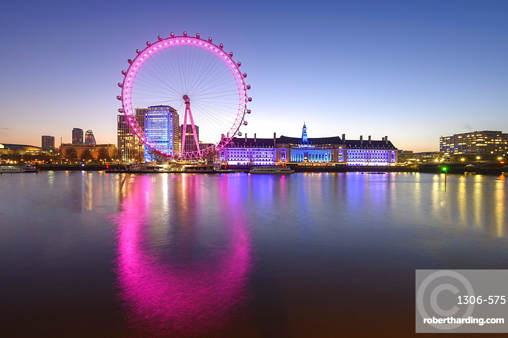 The London Eye, a ferris wheel on the South Bank of the River Thames, London, England, United Kingdom, Europe