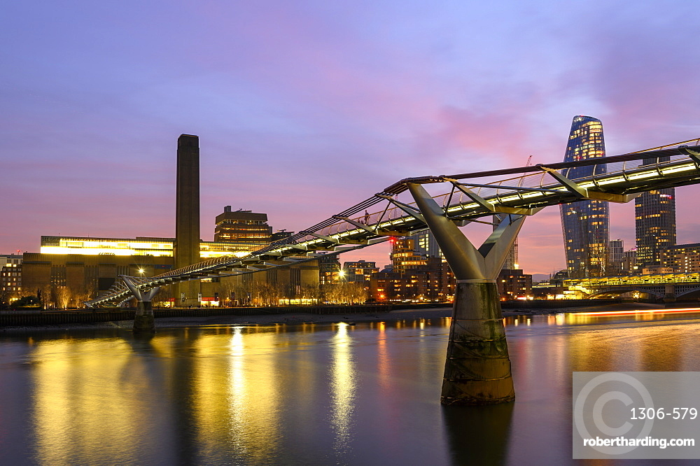 Millennium Bridge and the Tate Modern Gallery, London, England