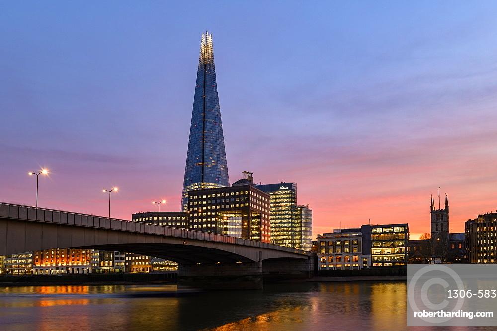 The Shard and London Bridge at sunset, London, England, United Kingdom, Europe