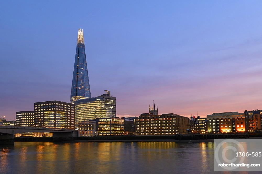 The Shard at sunset, London, England, United Kingdom, Europe