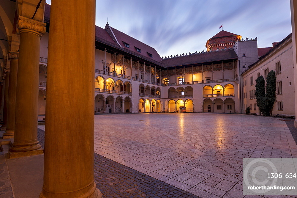 Wawel Castle, the arcaded Renaissance courtyard at the centre of Wawel Castle in Krakow, Poland