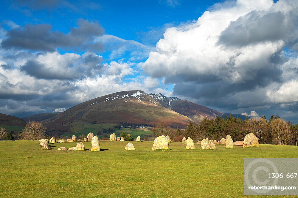 Castlerigg Stone Circle with Blencathra mountain behind, Lake District National Park, UNESCO World Heritage Site, Cumbria, England, United Kingdom, Europe