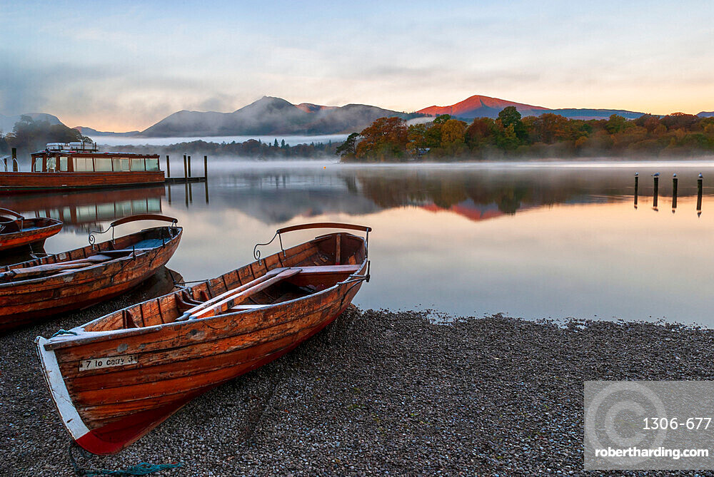 Rowing boats moored at Derwentwater, Derwentwater, Lake District National Park, UNESCO World Heritage Site, Cumbria, England, United Kingdom, Europe