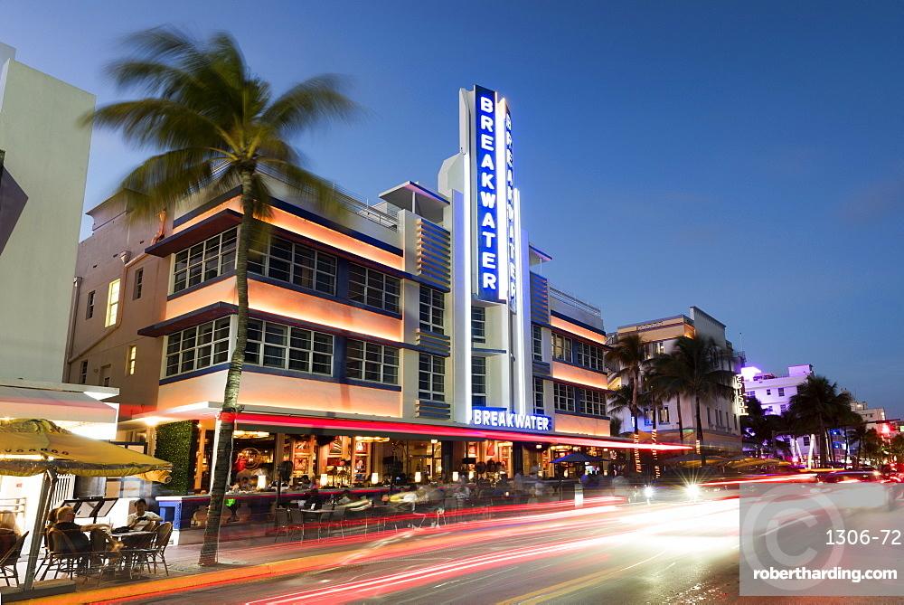 Art Deco architecture at night on Ocean Drive, South Beach, Miami Beach, Florida, United States of America, North America