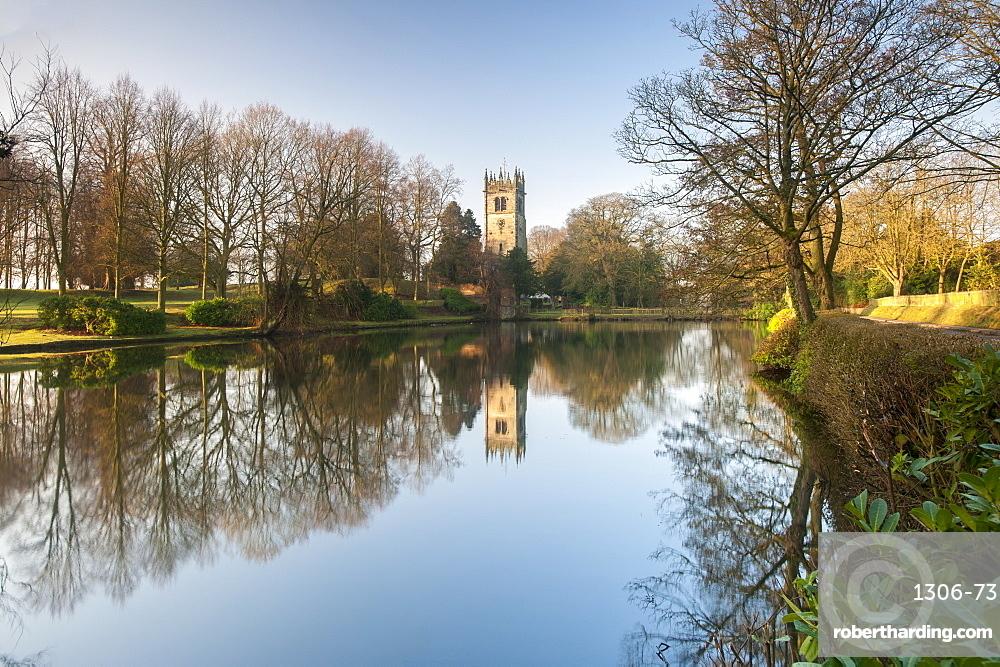 Gawsworth Parish Church reflected in Winter, Gawsworth, Cheshire, England, United Kingdom, Europe