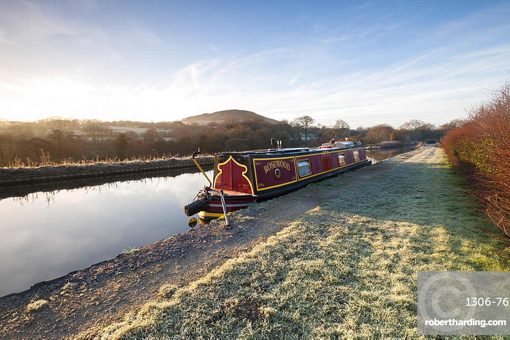 Barge in canal in Congleton, Cheshire, United Kingdom, Europe