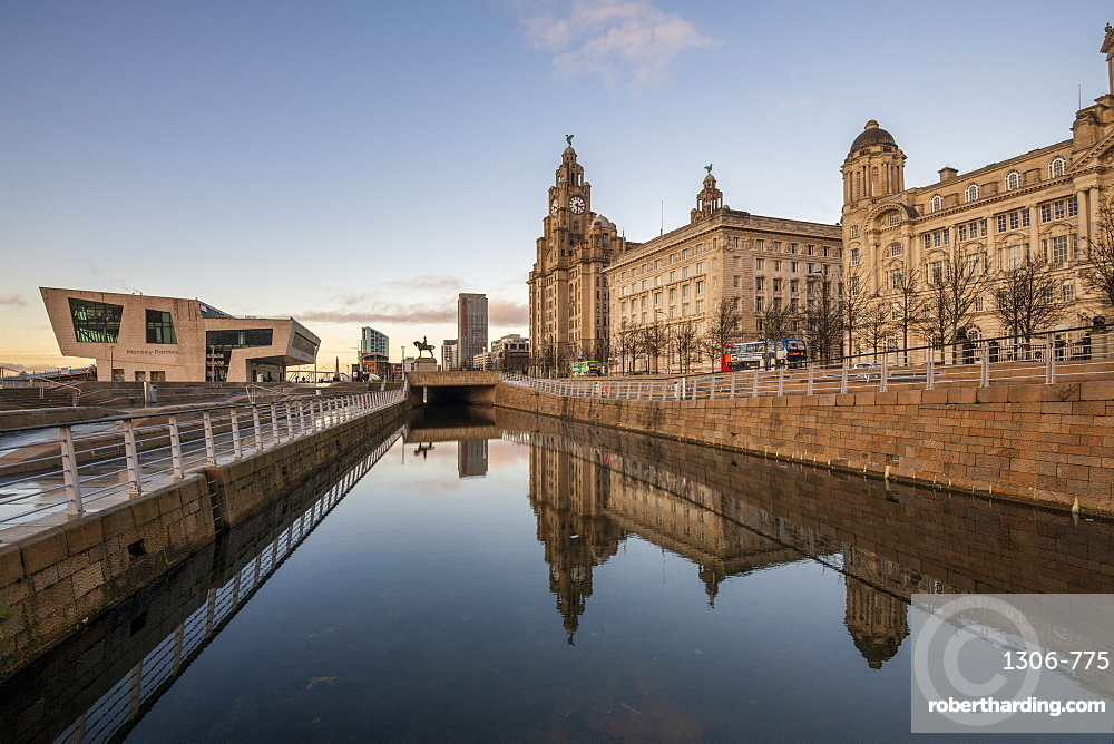 Reflections of The Pier Head on Liverpool waterfront, UNESCO World Heritage Site, Liverpool, Merseyside, England, United Kingdom, Europe