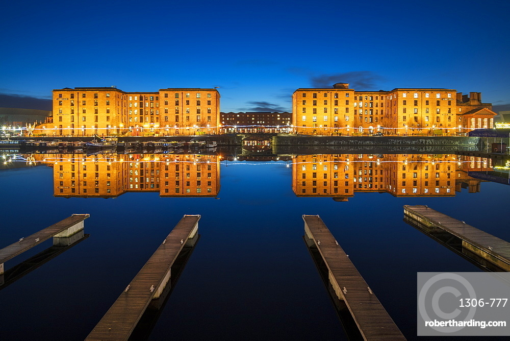 The Royal Albert Dock with perfect reflections at night, UNESCO World Heritage Site, Liverpool, Merseyside, England, United Kingdom, Europe