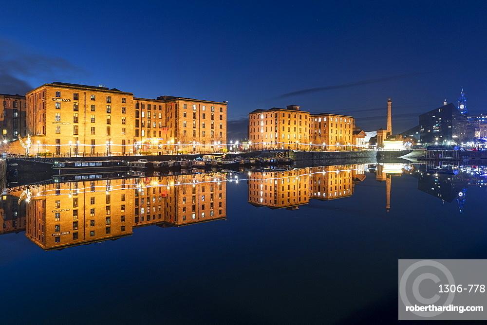 The Royal Albert Dock reflected at night, UNESCO World Heritage Site, Liverpool, Merseyside, England, United Kingdom, Europe