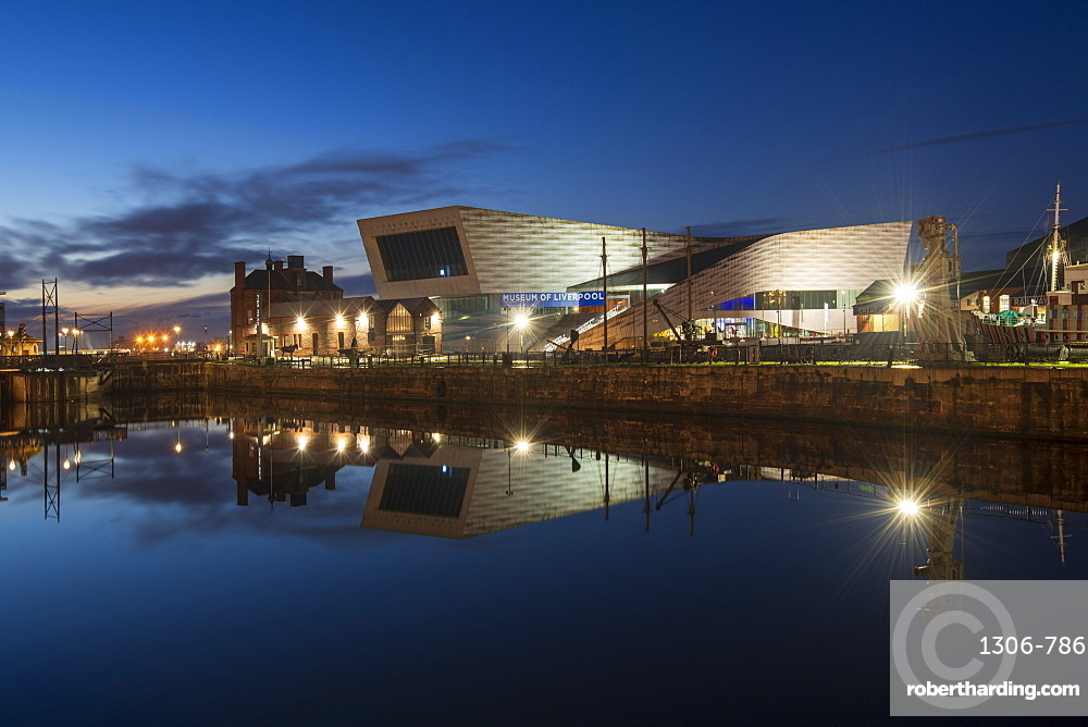 The Museum of Liverpool reflected at night, Liverpool, Merseyside, England, United Kingdom, Europe