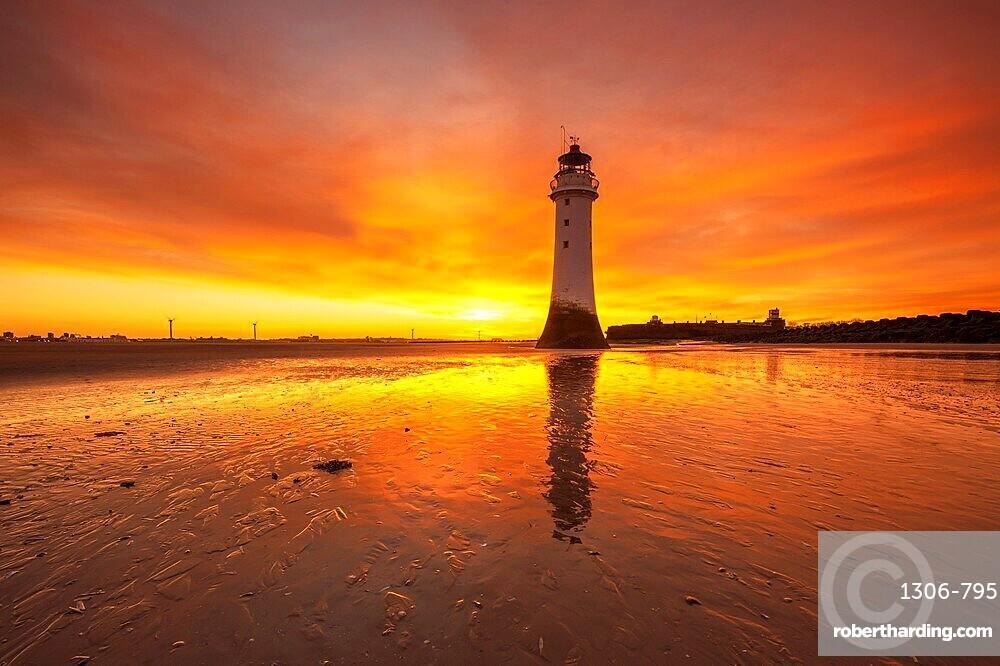 Perch Rock Lighthouse with dramatic sunrise, New Brighton, Cheshire, England, United Kingdom, Europe