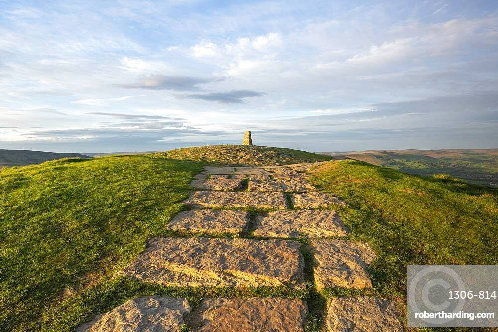 Stone path leading towards the summit at Mam Tor, Derbyshire