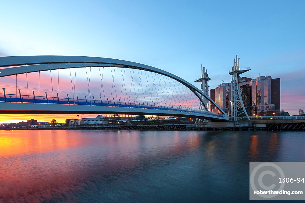 Salford Quays Lift Bridge at sunset in Manchester, England, United Kingdom, Europe