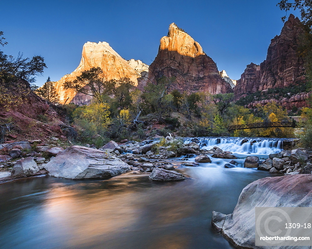 View across the Virgin River to Abraham and Isaac Peaks, sunrise, Court of the Patriarchs, Zion National Park, Utah, United States of America, North America