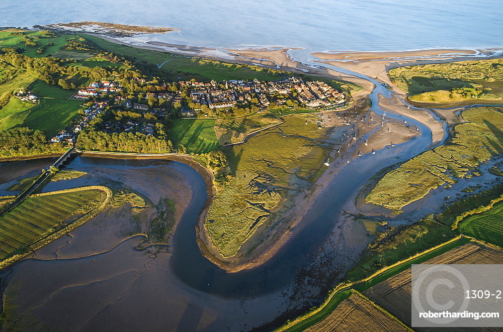 Aerial view of the meandering estuary of the River Aln, Alnmouth, Northumberland, England, United Kingdom, Europe