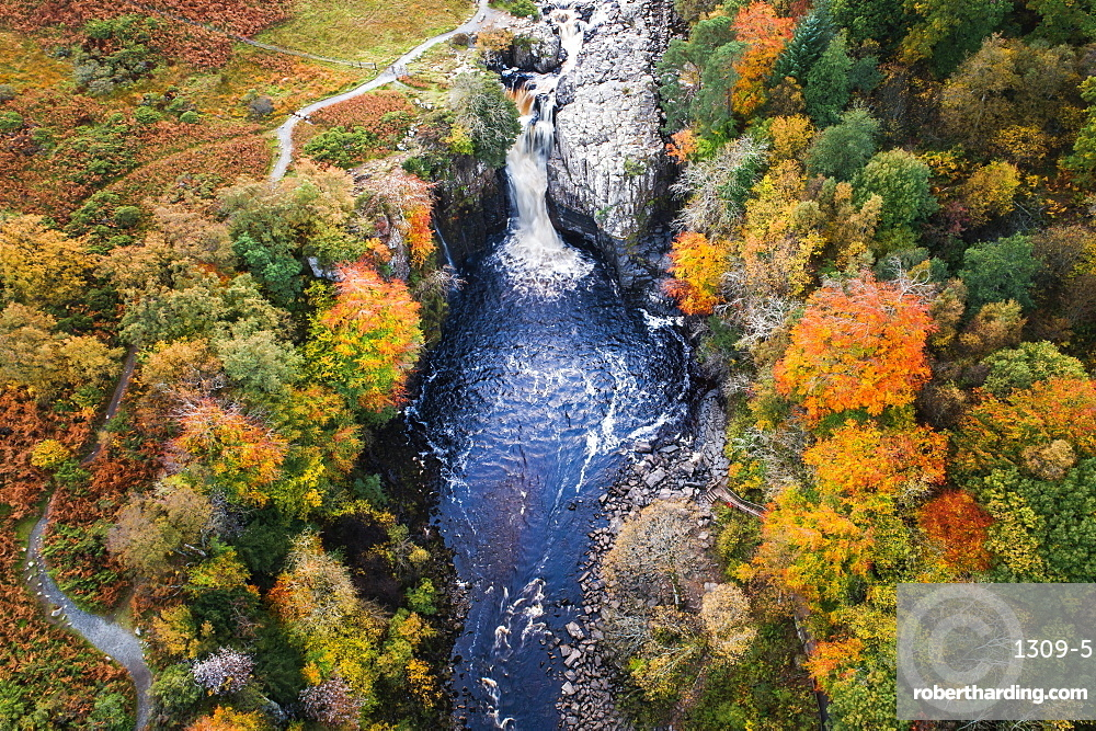 Aerial view of High Force and River Tees in autumn, North Pennines AONB (Area of Outstanding Natural Beauty), Middleton-in-Teesdale, Teesdale, County Durham, England, United Kingdom, Europe