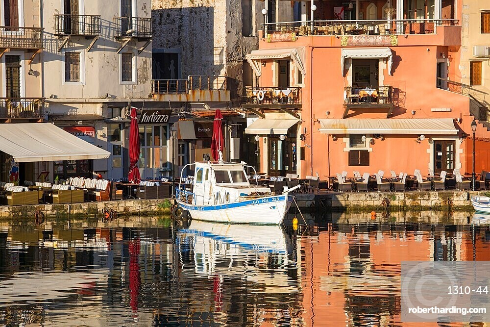 Colourful reflections in the Venetian Harbour, early morning, Rethymno (Rethymnon), Crete, Greek Islands, Greece, Europe