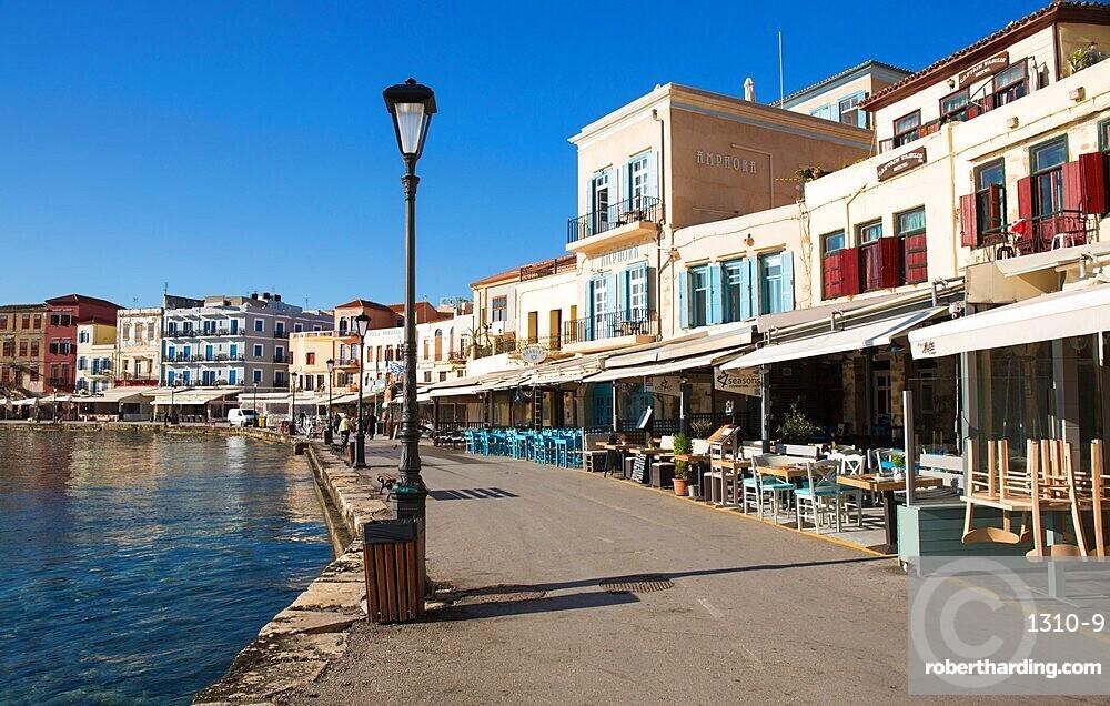 Colourful waterfront cafes beside the Venetian Harbour, Hania (Chania), Crete, Greek Islands, Greece, Europe
