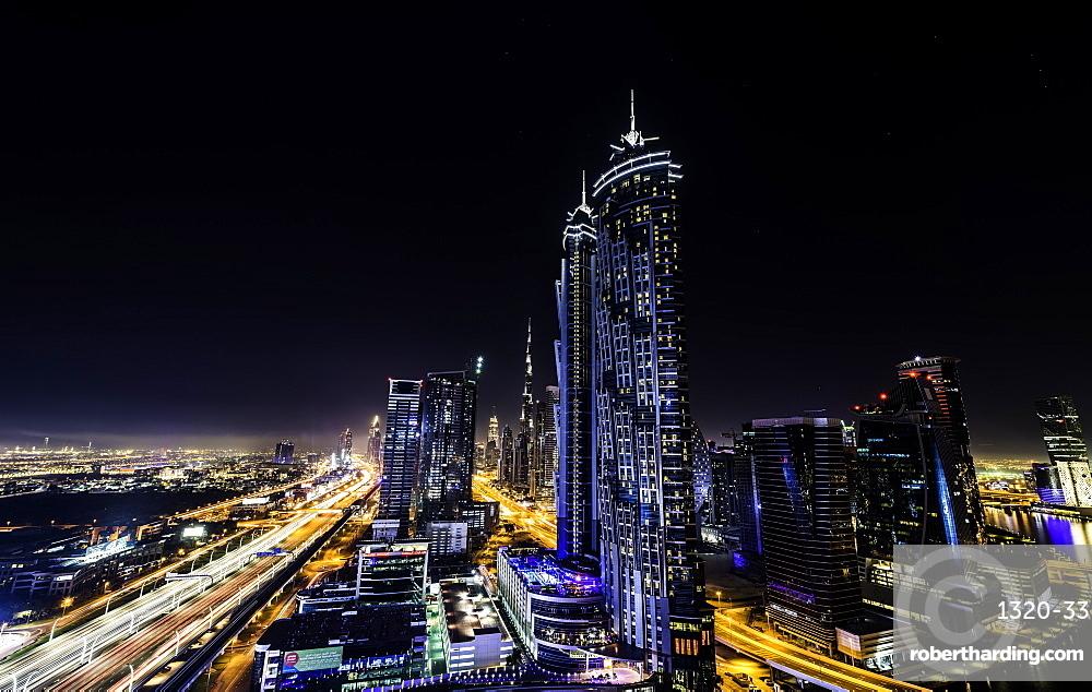 Long exposure overlooking Dubai at night, United Arab Emirates, Middle East