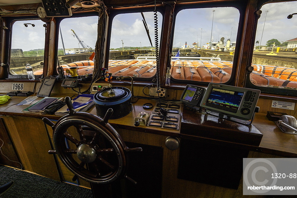 A view from the bridge of a ship passing through the Gatun Locks on the Panama Canal, Panama, Central America
