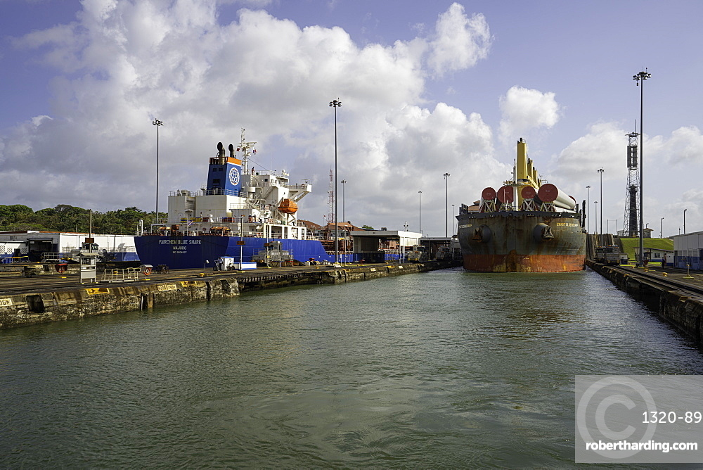 Cargo Ships in the Gatun Locks, Panama Canal, Panama, Central America