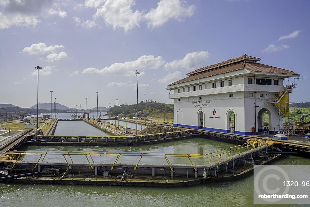 Sailing through the Miraflores Locks on the Panama Canal, Panama, Central America
