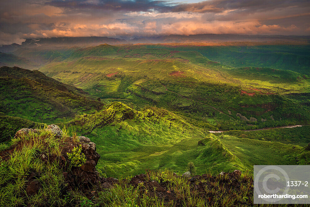 Sunrise over the green southern end of Waimea Canyon in the spring, Kauai, Hawaii, United States of America, Pacific
