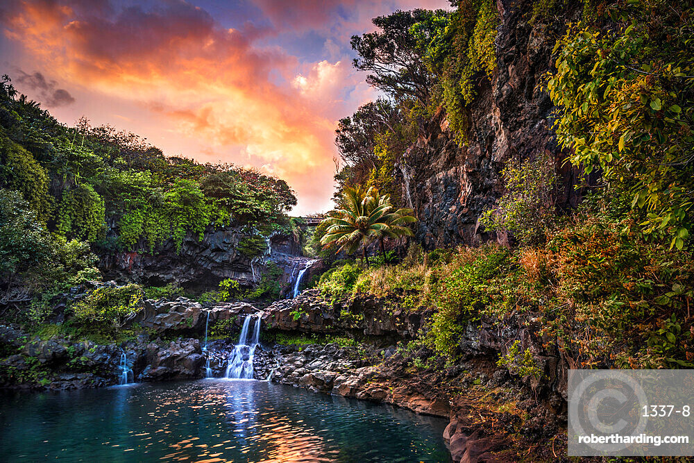 Sunset clouds float by over the Pools of 'Ohe'o (Seven Sacred Pools), Haleakala National Park, Maui, Hawaii, United States of America, Pacific
