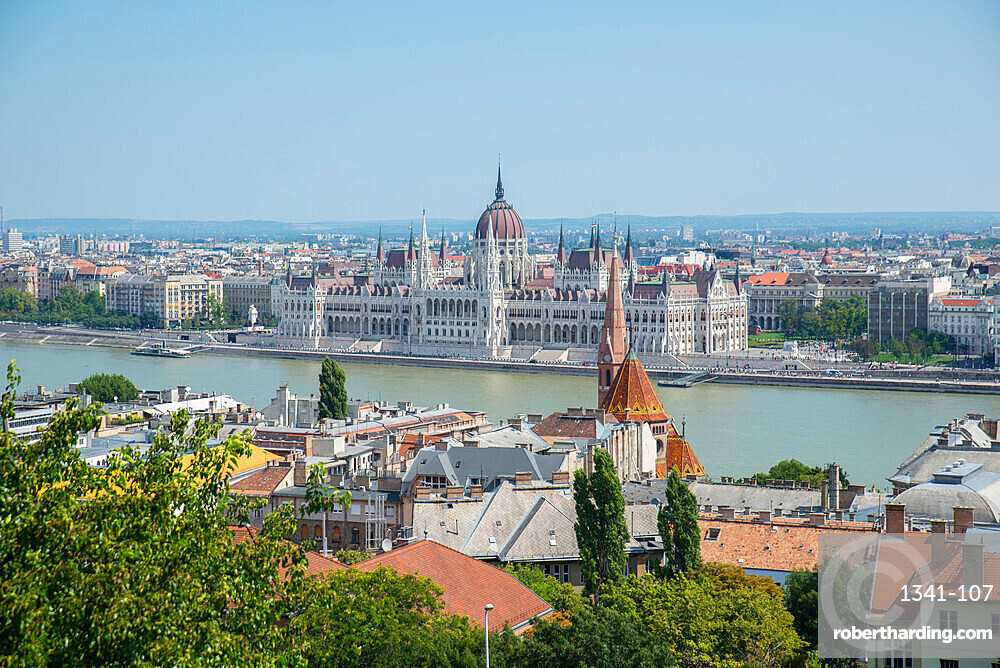 View of Budapest, River Danube and Parliament Buildings from Castle Hill, UNESCO World Heritage Site, Budapest, Hungary, Europe