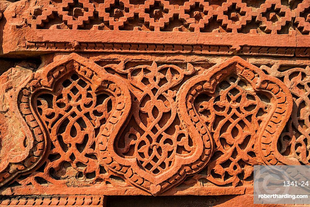 Detail, Qutub Minar, minaret and victory tower, UNESCO World Heritage Site, New Delhi, India, Asia