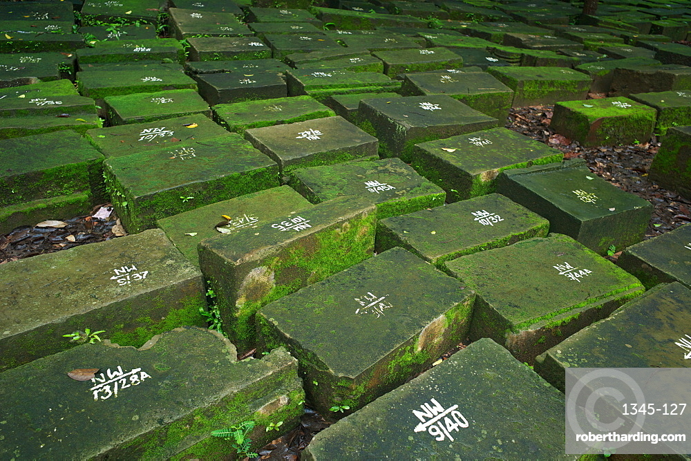 Marked stones in a restoration projects at the Ancient ruins of Ta Prohm Temple, Angkor, Siem Reap, Cambodia