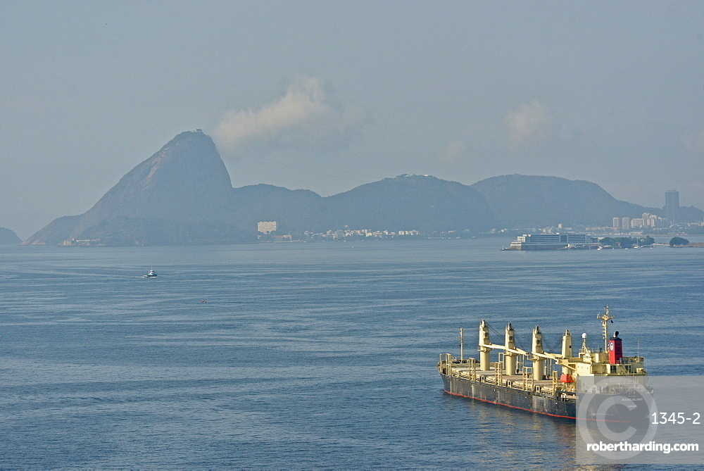 A view of Rio de Janeiro from the water with Sugarloaf on the background, Brazil