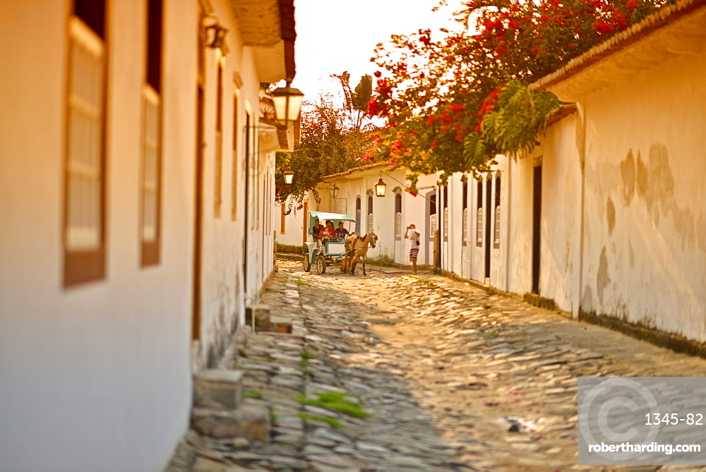 Typical colonial houses in the Historic Center District of Paraty, Rio de Janeiro State, Brazil