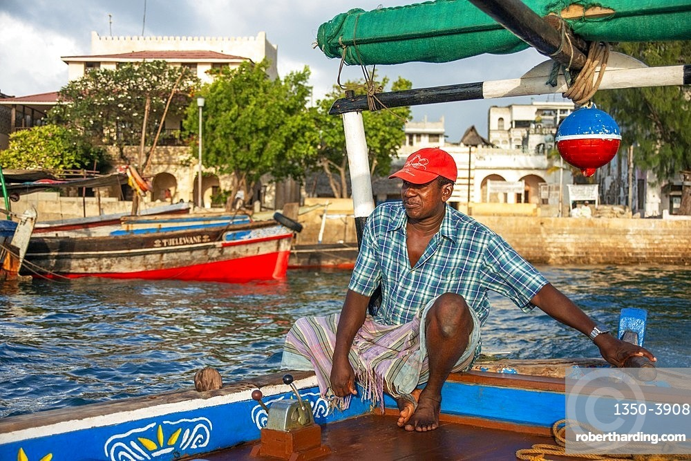 Fisher Boat in the Lamu waterfront, Kenya, Lamu island UNESCO World Heritage site